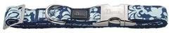 Ошейник для собак Hunter ALU-Strong Baroque M (40-55 см) нейлон с металлической застежкой синий с рисунком