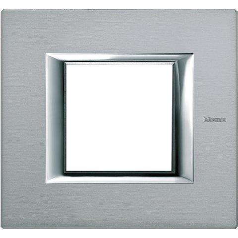 Рамка 1 пост, прямоугольная форма. АНОДИРОВАННЫЕ. Цвет Тёмное серебро. Немецкий/Итальянский стандарт, 2 модуля. Bticino AXOLUTE. HA4802AZ