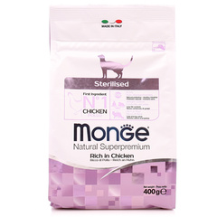 Monge Natural Superpremium Sterilised Cat полноценный корм для стерилизованных котов и кошек с курицей и рисом 400гр