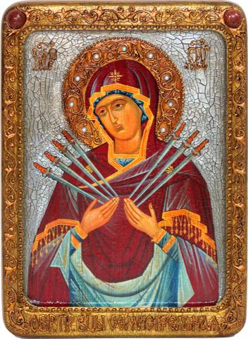 Инкрустированная живописная икона Образ Божией Матери Семистрельная 29х21см на кипарисе