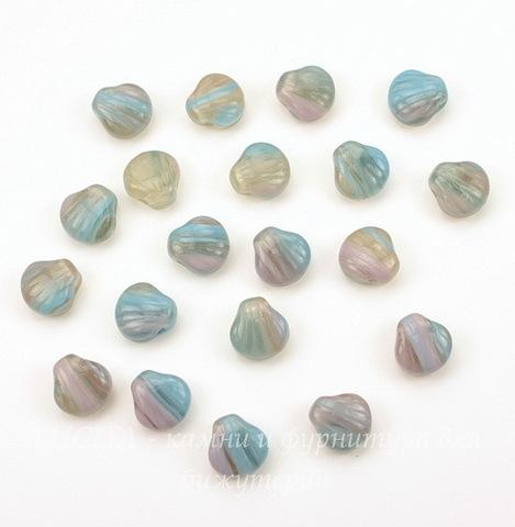 """Бусина """"Ракушка""""  (цвет - сиренево-серо-голубой) 9х9 мм , 20 штук"""