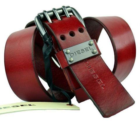 Мужской тёмно-красный кожаный брендовый ремень Diesel 40Diesel-PR-239