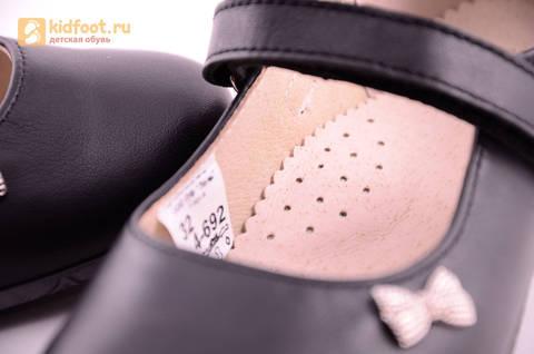 Туфли для девочек из натуральной кожи на липучке Лель (LEL), цвет черный. Изображение 16 из 18.