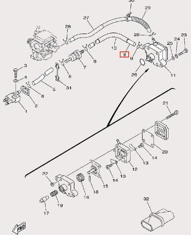 Трубка топливная Φ5×Φ10×170 для лодочного мотора F9,9 Sea-PRO (9-8)