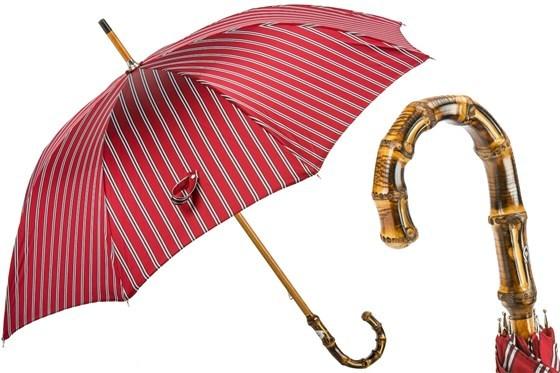 Зонт-трость Pasotti Classic Striped Umbrella, Bamboo Handle, Италия (арт.142 51880-2 B).
