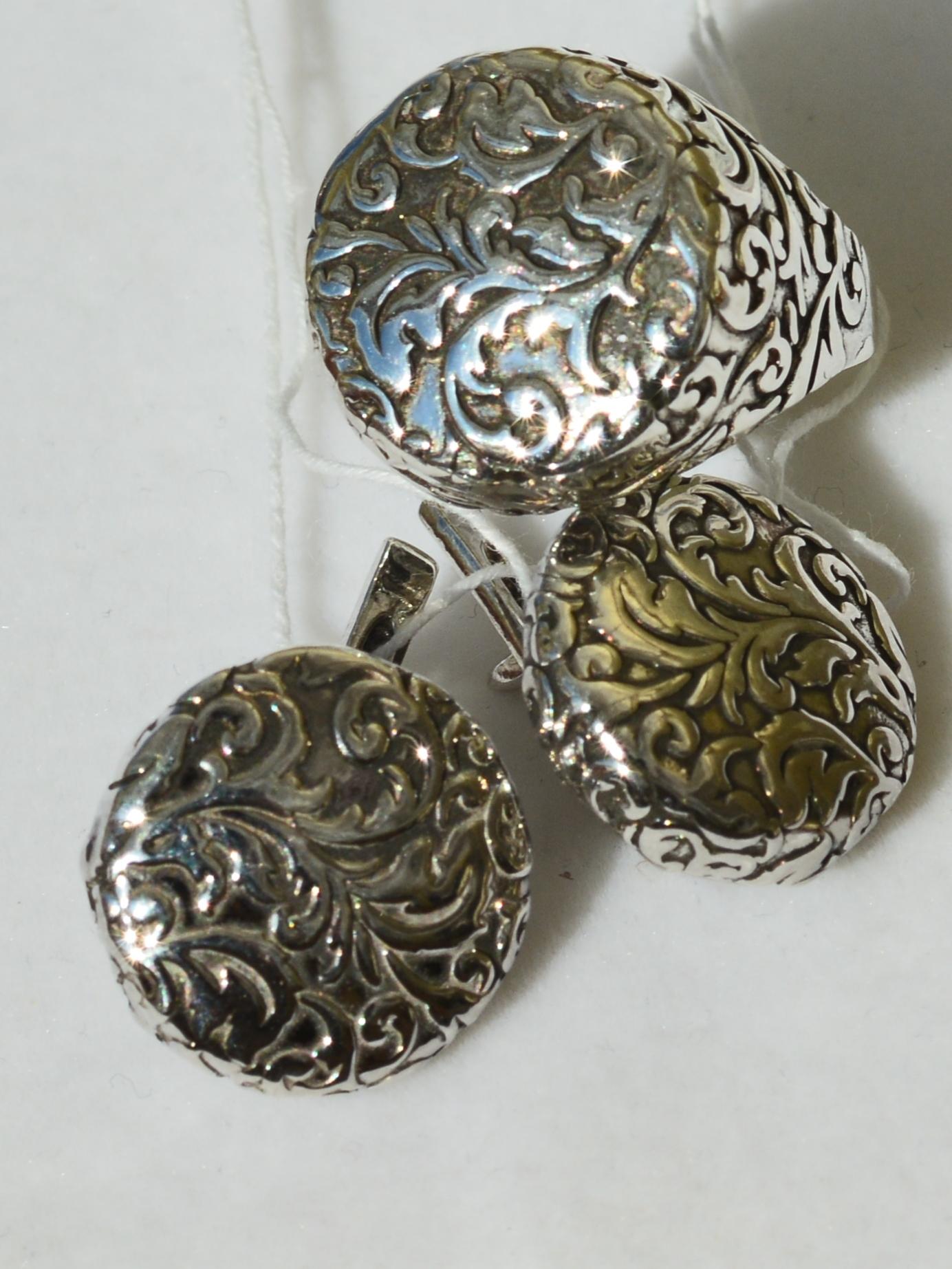 Агата (кольцо + серьги из серебра)