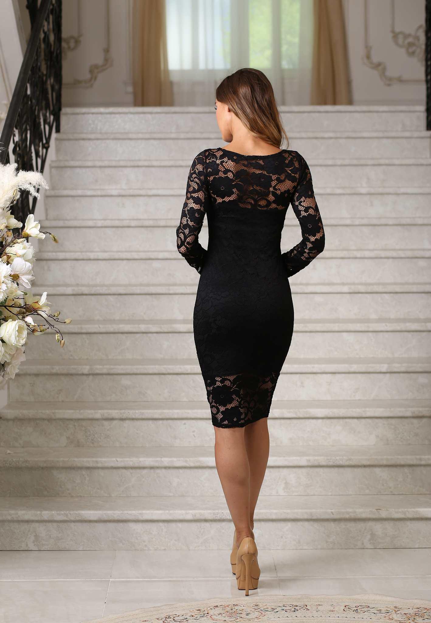 01f9cdf2edc Кружевное миди платье-футляр с рукавами
