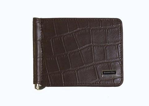 Компактный мужской коричневый кошелёк с зажимом для денег из натуральной кожи под крокодила с отделениями для карт и кармашком под мелочь Dublecity 063-DC9-11jb в подарочной коробке