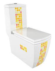 Унитаз-моноблок Arcus 050 JGMSK с декором, горизонтальный выпуск, дюропластовое сиденье с микролифтом