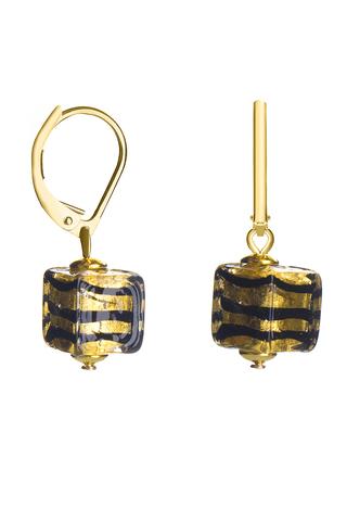 Серьги Perla Piccolo Cubo Zebrato золотистые с черными полосками