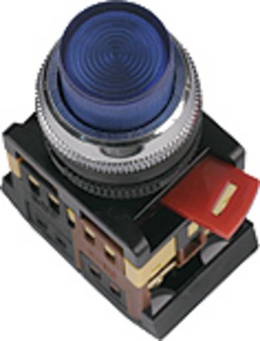 Кнопка ABLFP-22 синий d22мм неон/230В 1з+1р TDM