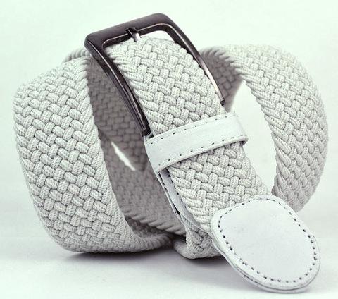 Ремень-резинка мужской текстильный эластичный брючный белый 35 мм 35Stropa-R-015