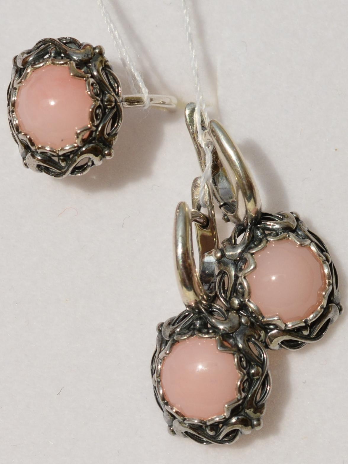 Луара-опал роз (кольцо + серьги из серебра)
