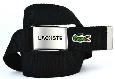 Высокопрочный текстильный брючный мужской чёрный ремень из стропы 4 см с пряжкой зажимом Lacoste (копия) с крокодильчиком 35Stropa-012