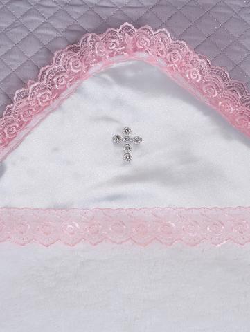 Пеленка крестильная из велсофта ( бел./роз)