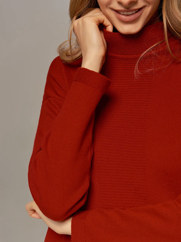 Red female dress made of wool and cashmere - фото 3