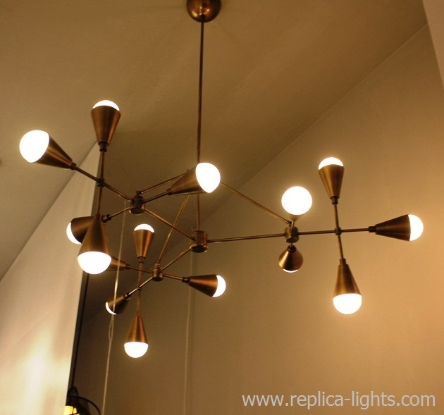LUCIDE 15 lights chandelier ( brass) by Art - metal & Triad 9 by Apparatus