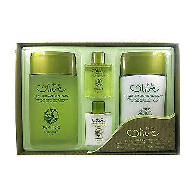 3W Clinic Набор для ухода за мужской кожей Олива Olive for Man Fresh 2 Items Set