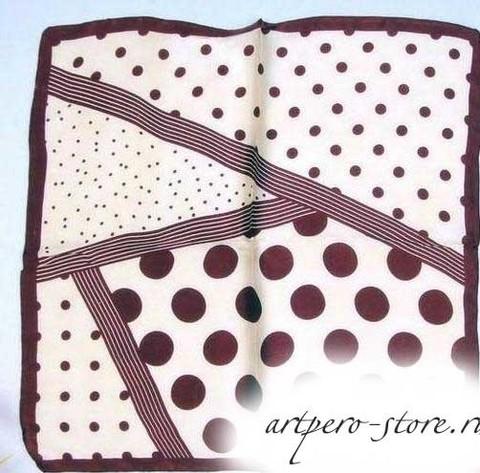 Квадратный платок, атлас (100% шёлк) (горох шоколад)