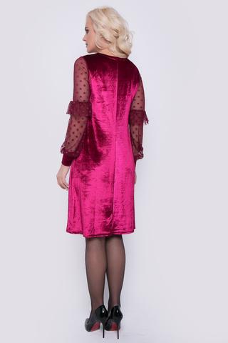 Роскошный выход в свет обеспечен! Бархат в сочетании с сеткой - отличное решение для эффектного образа. Платье свободного кроя. Рукав пышный с воланом на широком манжете. Длина платья 95см.