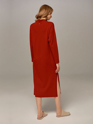 Red female dress made of wool and cashmere - фото 4