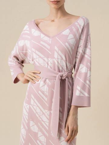 Женское платье светло-розового цвета из шелка и вискозы - фото 4