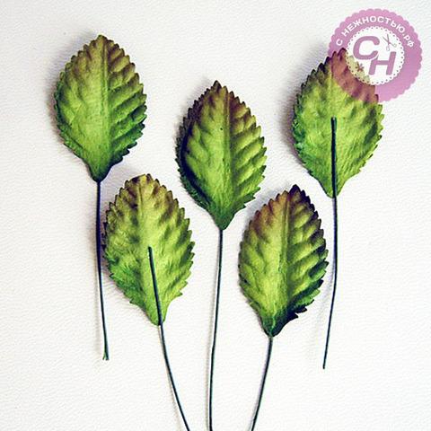 Лист розы из бумаги 2*3 см + проволока 6 см, 10 штук.