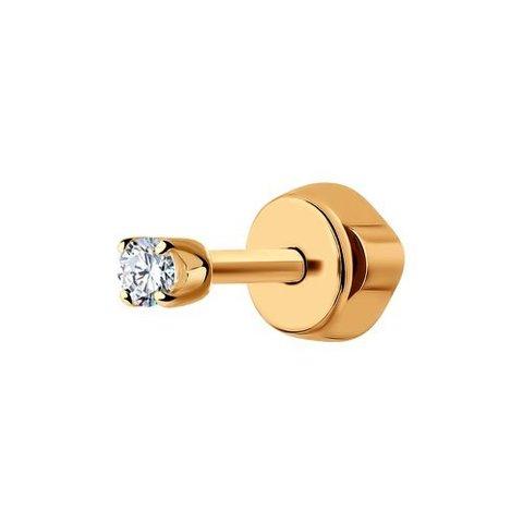 170004-Одиночная серьга-пусет из золота 585 пробы