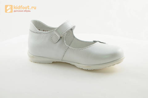 Туфли Тотто из натуральной кожи на липучке для девочек, цвет Белый, 10204A. Изображение 2 из 16.