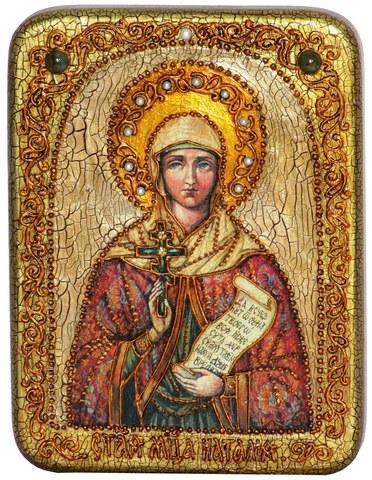 Инкрустированная икона Святая Мученица Наталия Никомидийская 20х15см на натуральном дереве в подарочной коробке