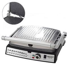 Пресс-гриль электрический 2200 Вт DELTA LUX DL-054 cеребристый с черным