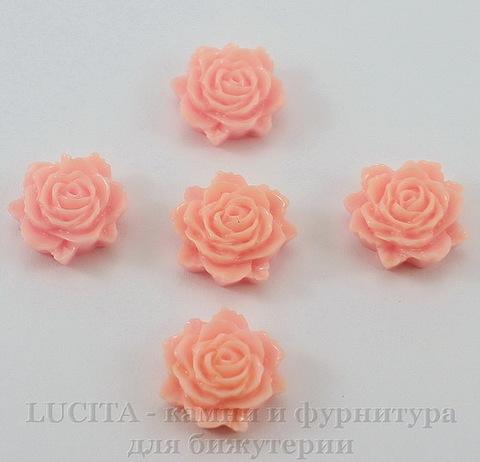 """Кабошон акриловый """"Роза"""", цвет - розовый, 12 мм, 5 штук"""