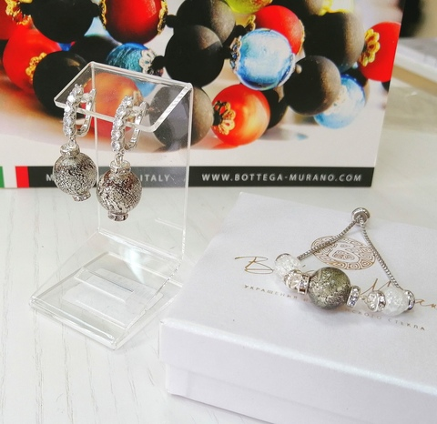 Комплект из браслета и серег со стразами Franchesca Ca'D'oro Medio Rubino Silver 456OB