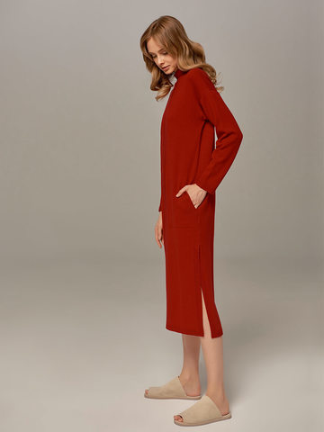 Red female dress made of wool and cashmere - фото 2