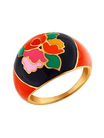 Золочёное кольцо с Хохломой