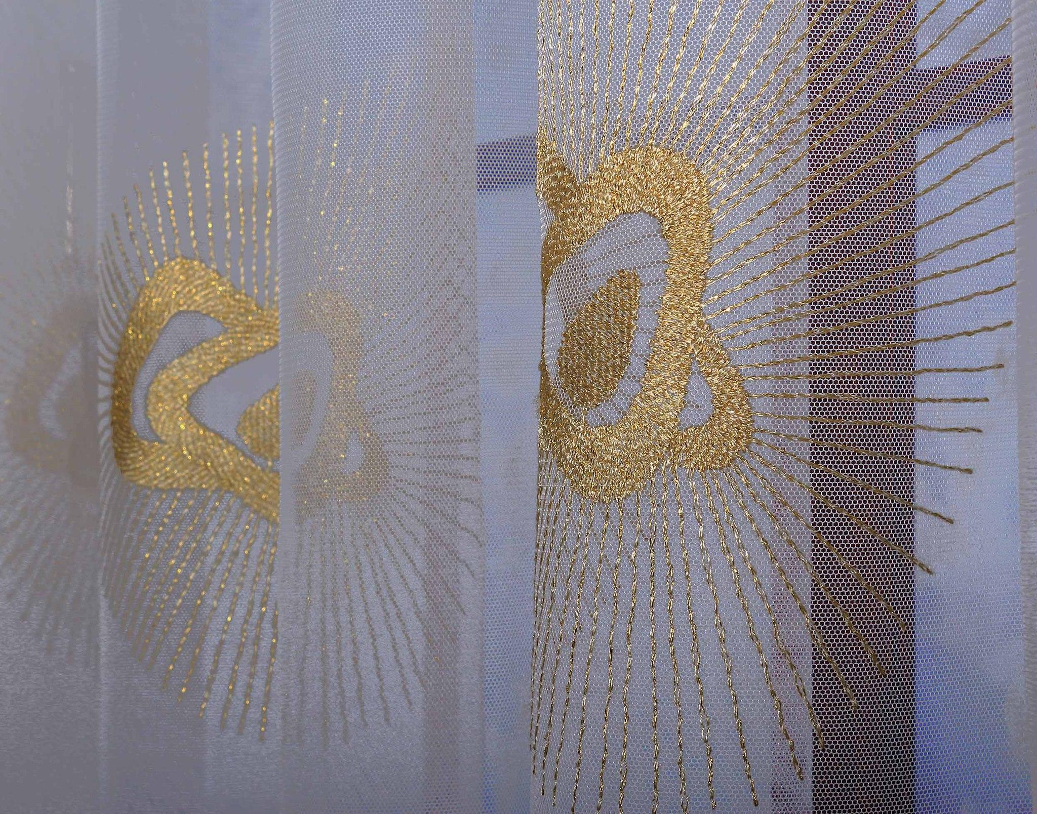 Готовая штора. Французская сетка с золотой вышивкой с люрексом (Старс)