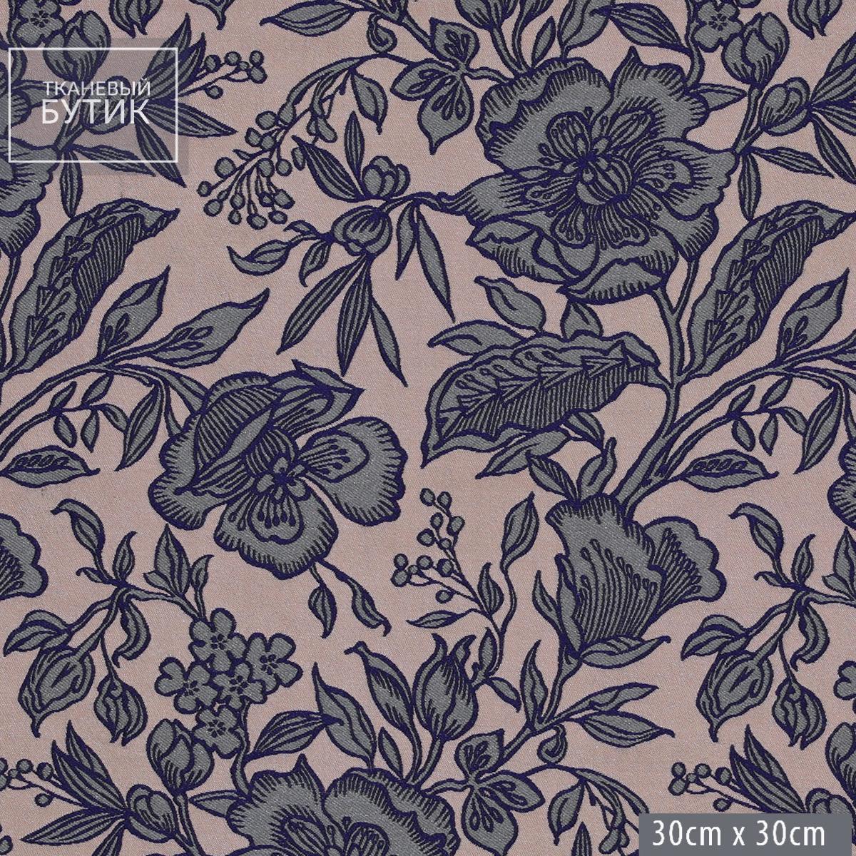Приглушенно-розовый шелковистый жаккард с серыми цветами