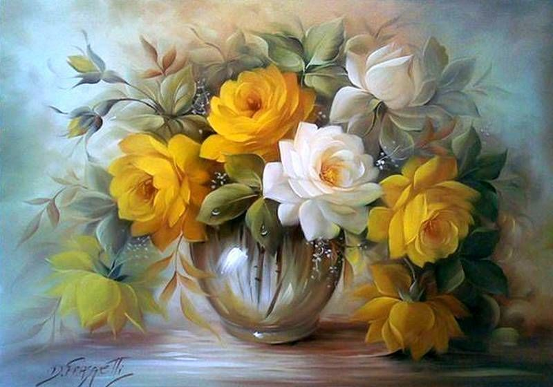 Картина раскраска по номерам 40x50 Желтые и белые цветы в ...