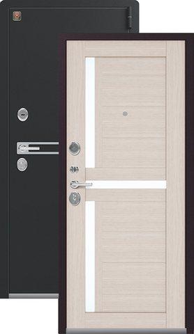 Тёплая дверь входная Легион L-3, 2 замка, 1,8 мм  металл, (чёрный муар+лиственница светлая)