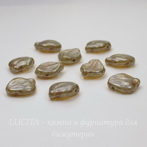 "Бусина ""Листик""  (цвет - бронзовый перламутр) 15х12 мм , 10 штук"
