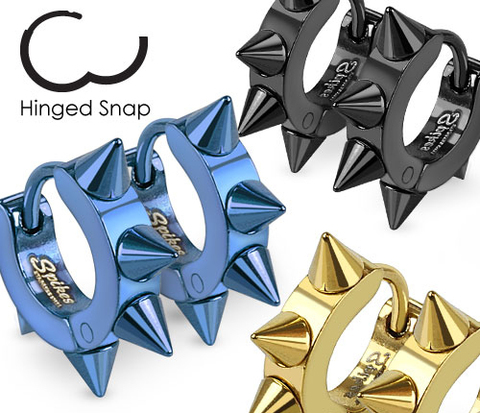 Мужские серьги кольца с шипами синего цвета