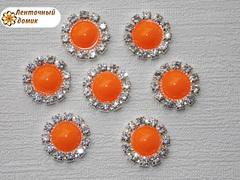 Акриловые полубусины в стразовом обрамлении оранжевые
