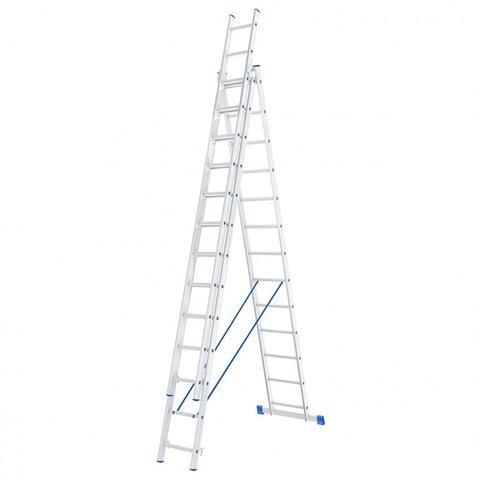 Лестница, 3 х 13 ступеней, алюминиевая, трехсекционная, Россия, Сибртех