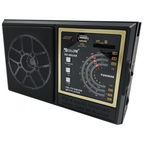 Радиоприемник RX-98UAR, MP3/FM/MicroSD/USB, встроенная батарея, 220V, (4xR6)