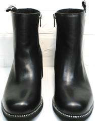 Женские полусапожки осень Jina 6845 Leather Black.