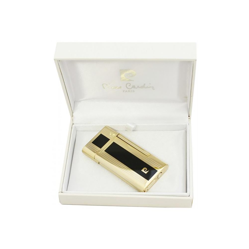 Зажигалка Pierre Cardin кремниевая газовая, цвет позолота/черный лак, 3,5х0,9х6,9см