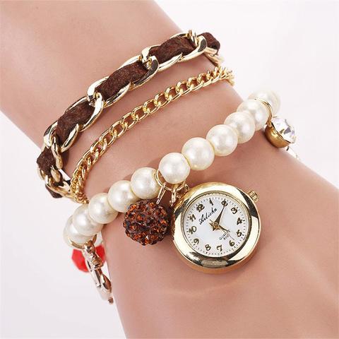 Часы-браслет с жемчугом (темно-коричневый)