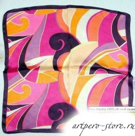 Квадратный платок, атлас (100% шёлк) (розовые волны)