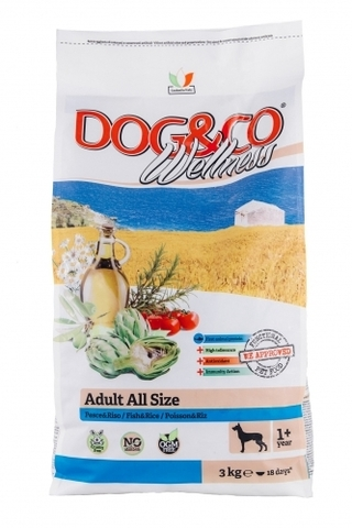 Adragna Dog&Co Wellness Adalt MEDIUM/ MAXI  fish & rice (3 кг)
