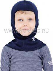 Шлем-маска (балаклава) с шерстью мериноса Norveg Soft Blue детская